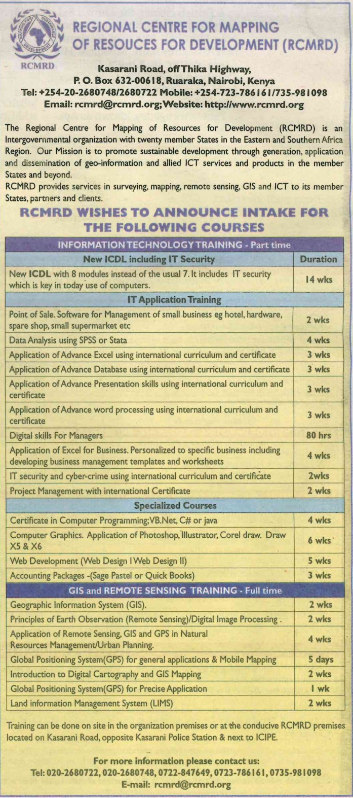 Rcmrd announces intake for it and gis courses 1betcityfo Gallery